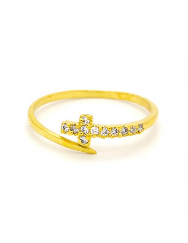 Kreuz Ring aus 925 Sterling Silber handgemacht gold STAYRO