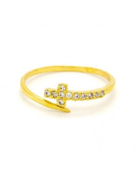 Ασημένιο δαχτυλίδι με σταυρό χειροποίητα χρυσό STAYRO