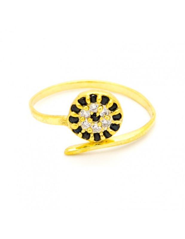 Ασημένιο δαχτυλίδι με μάτι χρυσό 925 ασήμι NAZAR