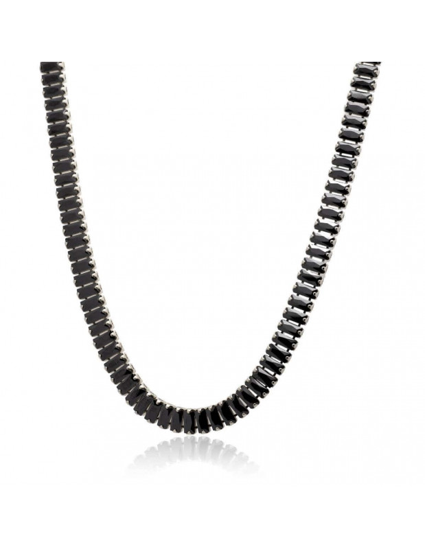 Rhinestone chain with black crystals silver SOPHIA