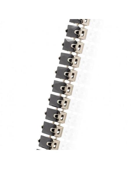 Rhinestone chain with black crystals silver SOPHIA 3