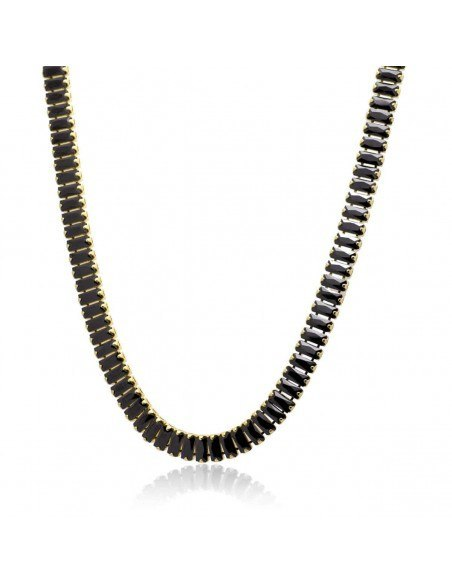 Rhinestone chain with black crystals gold SOPHIA