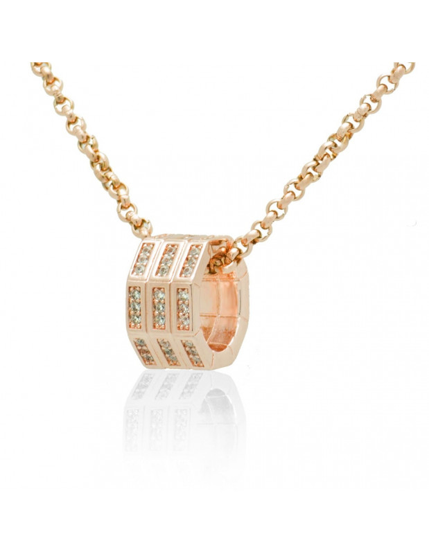 Necklace with crystals rose gold OKTA