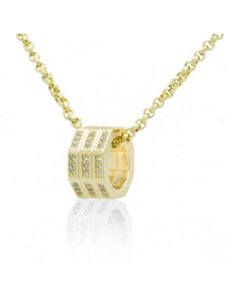 Necklace with crystals gold OKTA