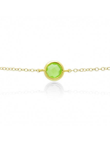Silver Bracelet with green crystal gold GERLO