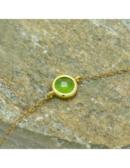 Ασημένιο Βραχιόλι με πράσινο ζιργκόν χρυσό GERLO 3