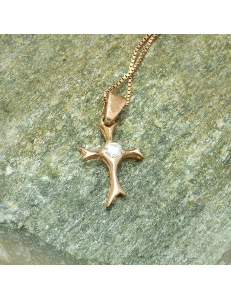 Cross Necklace of 925 Silver rose gold MEDEO 2