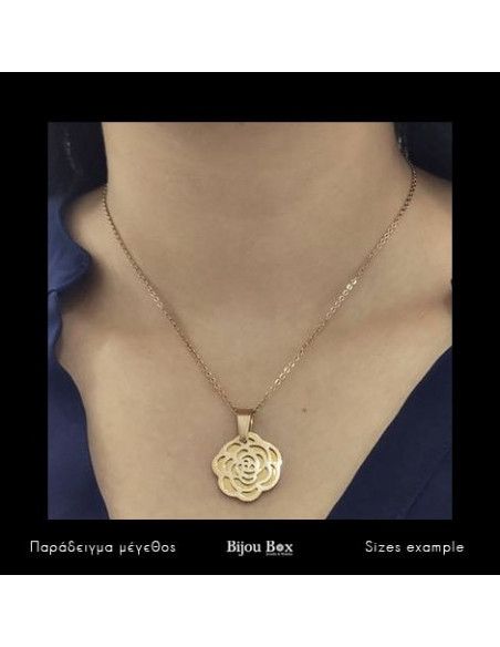 Stainlees steel Necklace rose gold plated ROSE 2