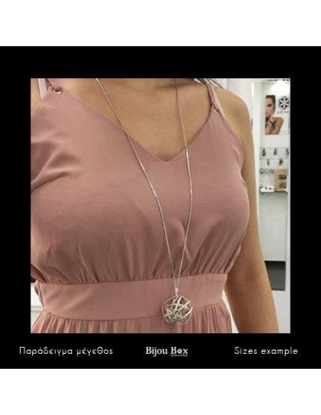 Lange Halskette aus versilberter Bronze PLANITI 2