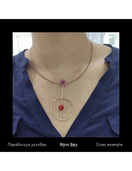 Statement Necklace of bronze rosegold MEDUSA 2