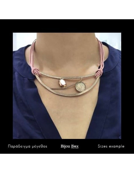 Collar Necklaces of bronze with crystals rose gold WAEL 2
