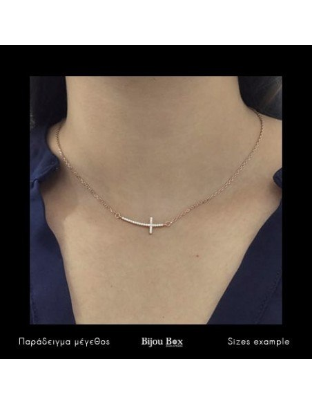 Cross Necklace of 925 silver rose gold KLARI 2