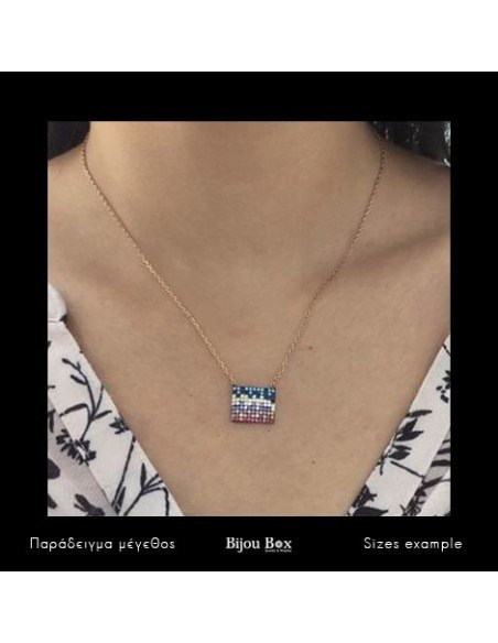 Silver Necklace with crystals rose gold SQUARE 2