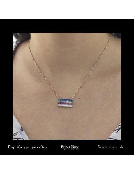 Silberkette mit bunten Zirkonia Steinen rose gold RECHTECK 2