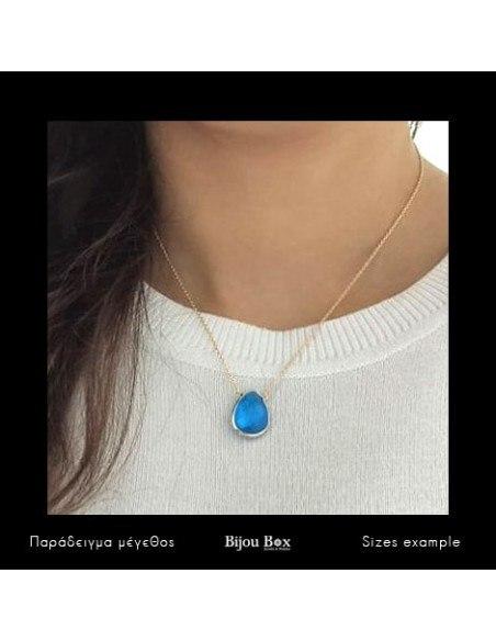 Silver Necklace with big blue crystal gold VILIS 2