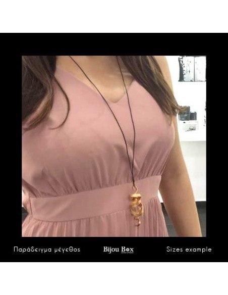 Leder Halskette mit Bronze Anhänger rosegold HIAP 2
