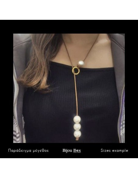 Long pearl necklace with brown leather cord URES 2