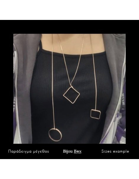 Long Necklace with bronze elements rose gold RENA 2