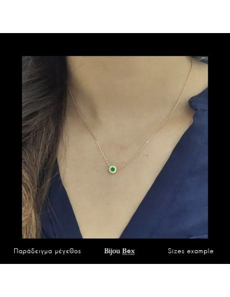 Silver Necklace with green crystal rose gold GIRALI 2