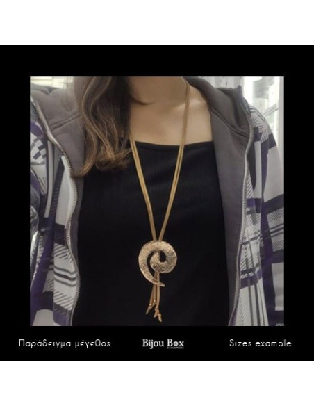 Long leather Necklace with bronze pendant rose gold VISTA 2