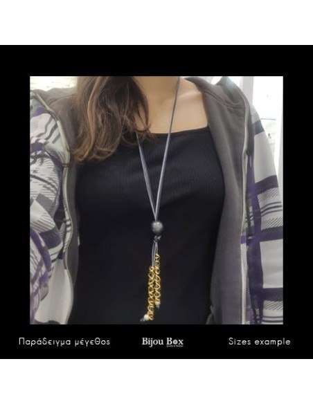 Long necklace with pearl black leather cord SWIL 2