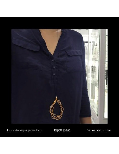 Necklace with long cord and bronze pendant rose gold BANO 2