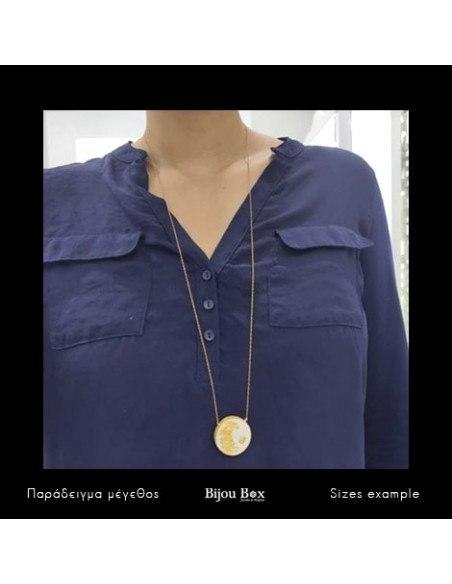 Lange Halskette mit Bronze Anhänger gold ZEMENT 2