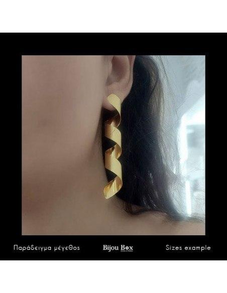 Long Earrings of bronze handmade gold ΚΙΟ 2