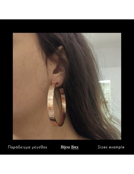 Hoop earrings of bronze rose gold TRED 2