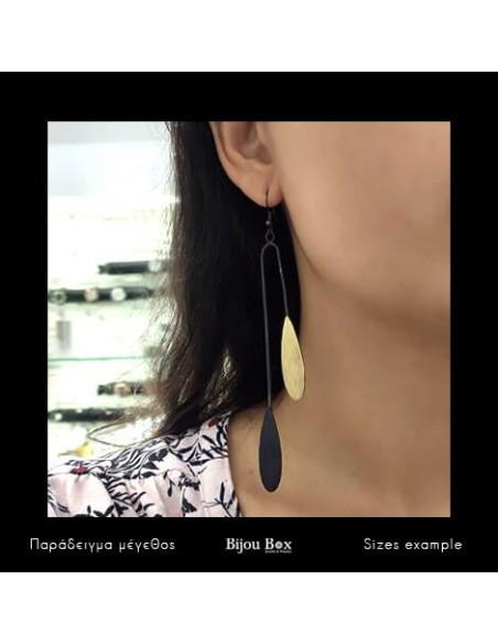 Long earrings of acid-treated bronze black YAKE 2