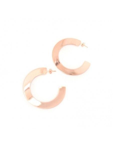 Silver hoop earrings rose gold ROSE