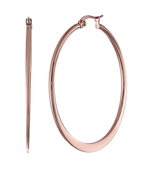 Σκουλαρίκια κρίκοι 65mm από ατσάλι ροζ χρυσό FLAT