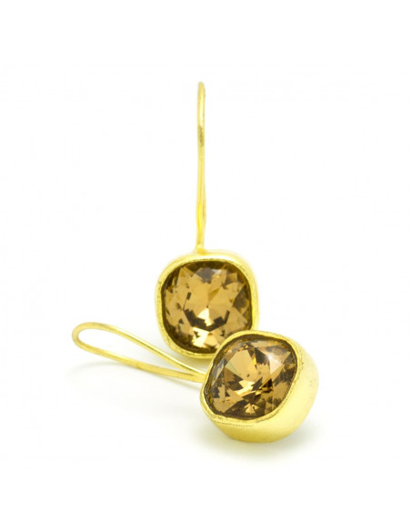 Σκουλαρίκια από μπρούτζο με ζιρκγόν χρυσό PARMA 2