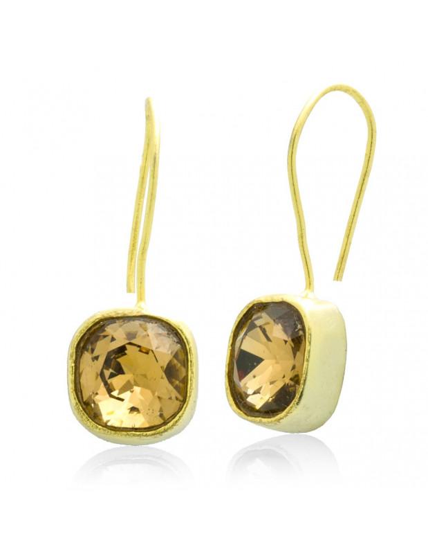 Ohrringe aus Bronze mit Zirkon gold PARMA