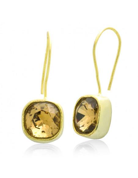 Σκουλαρίκια από μπρούτζο με ζιρκγόν χρυσό PARMA
