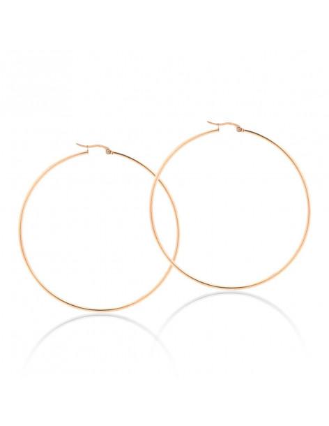 Hoop earrings 70mm stainless steel rose gold TOKIO