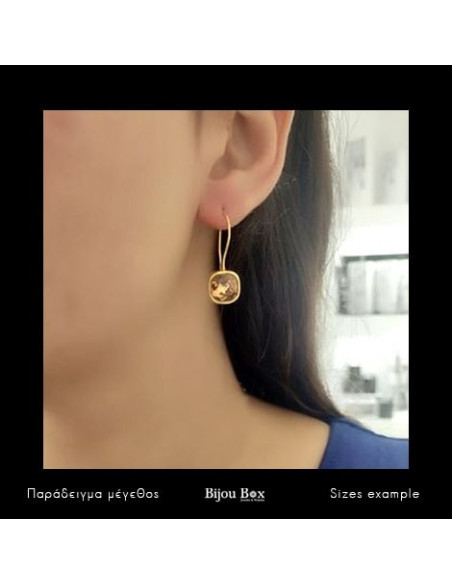 Drop earrings of bronze with crystal gold PARMA 3