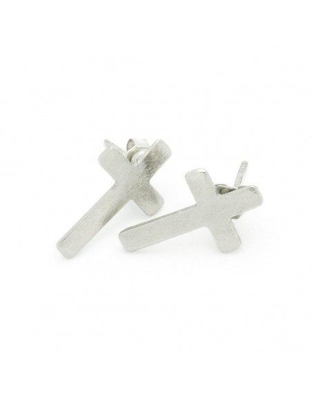 Σκουλαρίκια καρφωτά από μπρούτζο ασημί AGIO 2