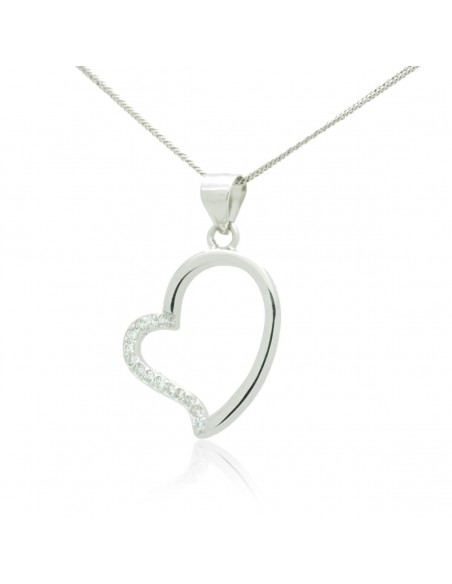 Silver Necklace with heart pendant and crystals SAGA