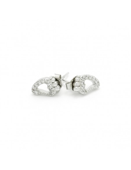 Silver stud earrings with crystals FEET 2