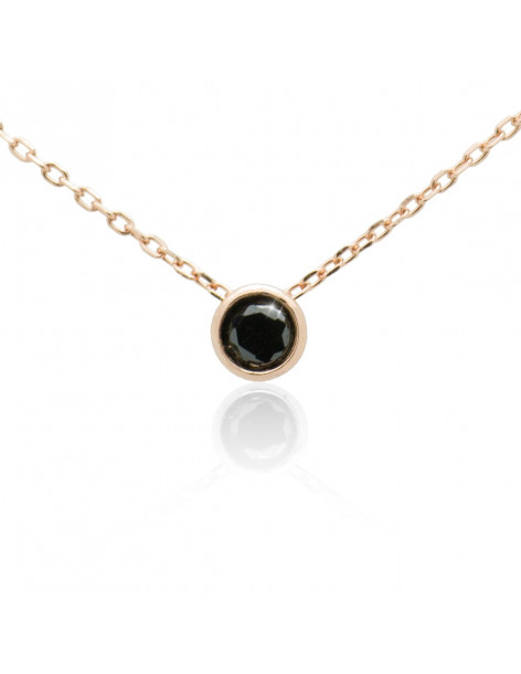 Silver Necklace with black crystal rose gold TAILOR