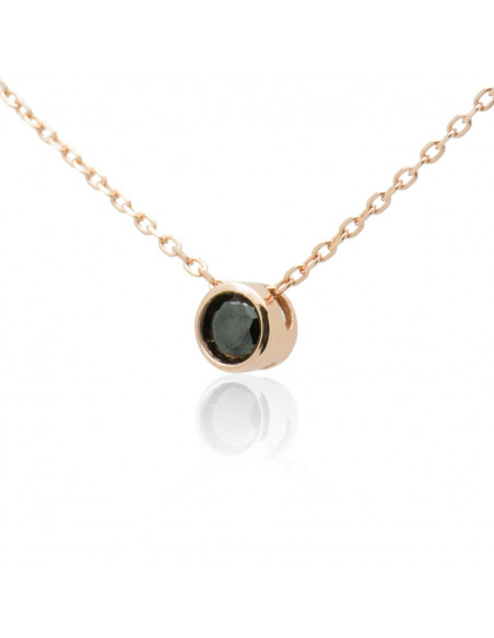 Silver Necklace with black crystal rose gold TAILOR 2