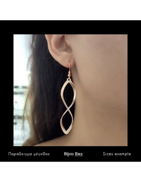 Long earrings of bronze rose gold FIDES 2