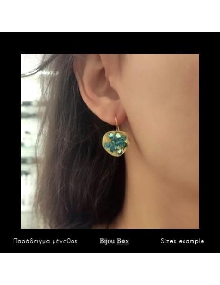 Σκουλαρίκια από μπρούτζο με μπλέ ζιργκόν χρυσό FERIOL 2