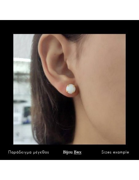 Stud Earrings with white crystal gold IBI 3
