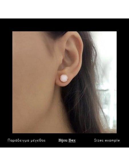 Σκουλαρίκια καρφωτά με ροζ ζιργκόν χρυσό IBI 3