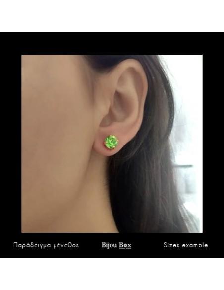 Σκουλαρίκια καρφωτά με πράσινο ζιργκόν χρυσό IBI 3