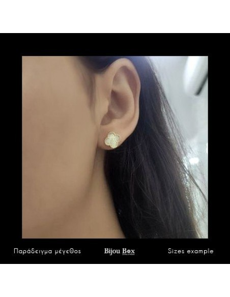 Silver Stud earrings with crystals gold TREFOIL 2