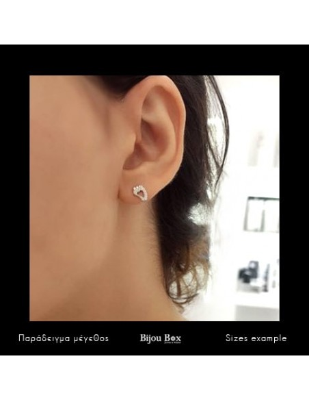 Silver stud earrings with crystals FEET 3