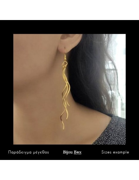 Lange Ohrringe aus Bronze handgefertigt gold NIEL 2